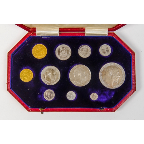 145 - 1902 Specimen Set including a Gold Sovereign, Half Sovereign, Silver Crown, Silver Half Crown, Two S...