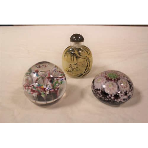 152 - Various collectable items including a Chinese painted snuff bottle, a paper weight, etc....