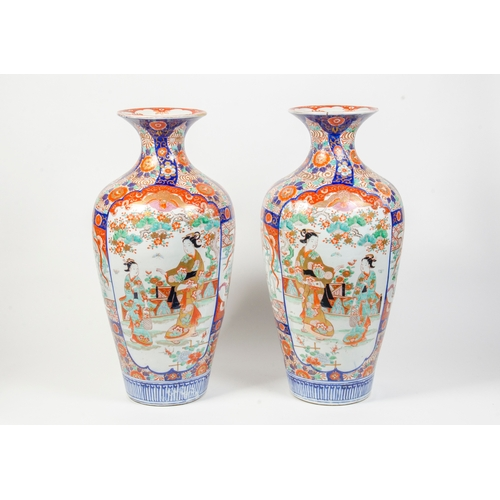 192 - A Large Pair of Japanese Kyoto Ware Vases decorated in rust blue and green, all over floral pattern,...