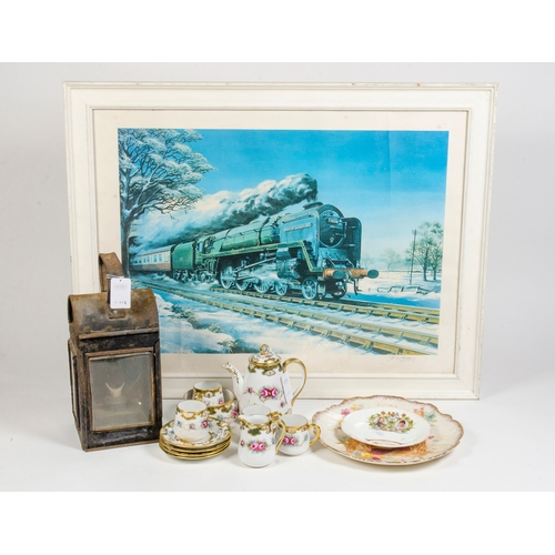 193 - A collection of various collectables including a Railway lamp, Japanese floral and gilt tea set, two...