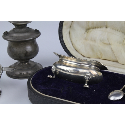 2 - A silver coronation hallmarked butter dish, a pair of Georgian silver salt cellars in a case etc. 27...