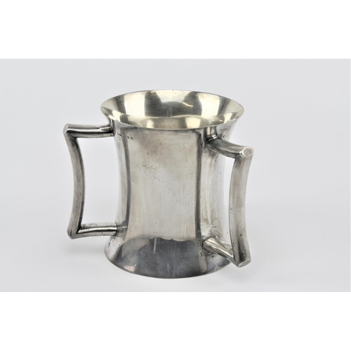 10 - A three handled silver tyg, loving cup, Birmingham W. 752 grams....