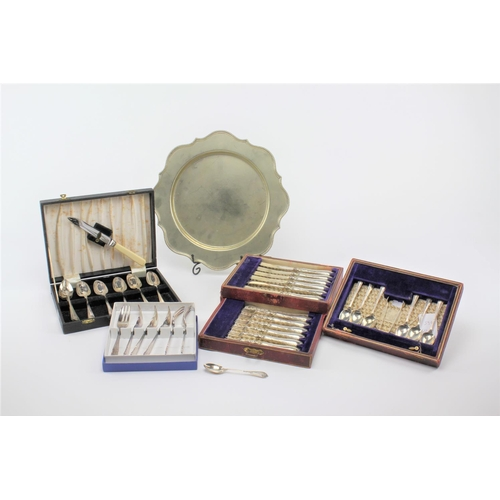 19 - Six silver tea spoons, a matching pair of sugar tongs, plated cutlery etc. 102 grams....