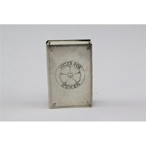 40 - A sterling silver match case, inscribed with votes for women....