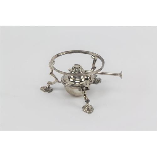 56 - A silver 1907 spirit burner and stand. 423.4 grams....