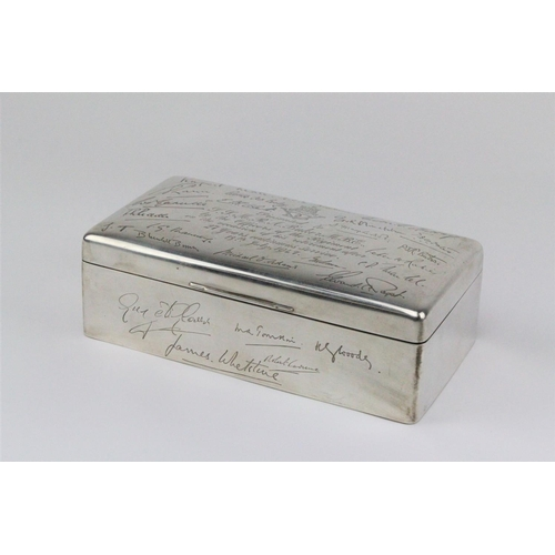60 - A silver cigarette box, Inniskilling volunteers, awarded to R.Baker for 27 years service....