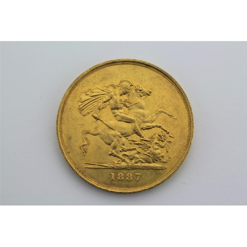 638 - A Victorian gold five pound piece, jubilee head, 1887. 40 grams....