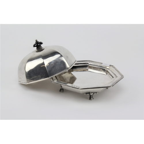 8 - A silver muffin dish, cover and liner, hallmarked for Birmingham, O in a shield. 734 grams....