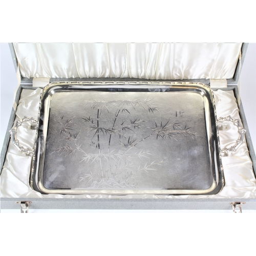 133 - A Large Silver Bamboo decorated & Twin Handled Tea Tray with Egg & Dart border marked Waikee Hong Ko...