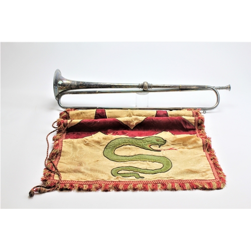 578 - A ceremonial plated trumpet, with attached banner, given to W.E Thomas, for the High Sheriff of Meir...