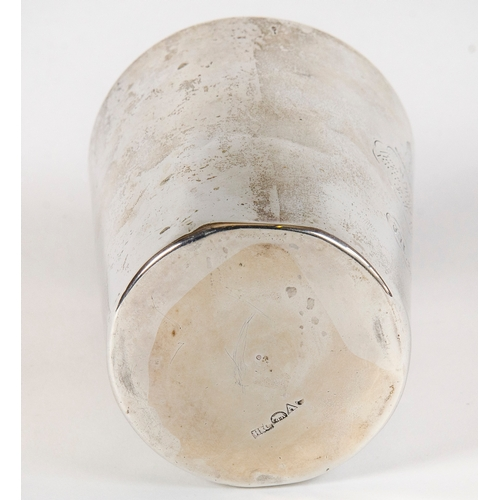 1 - Indian trade silver beaker, Hamilton & Co, decorated with an engraved Buddha, resting on a rope of d...