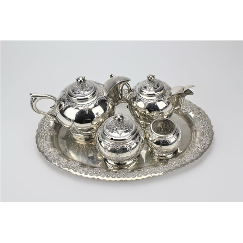 2 - An Indian four piece tea set, silver coloured white metal, of Ceylonese design, consisting of a tea ...