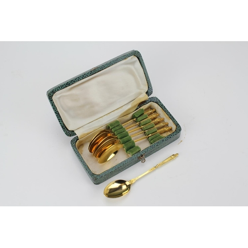 44 - A Set of Six French Gilt tea spoons, gold plated in original case....