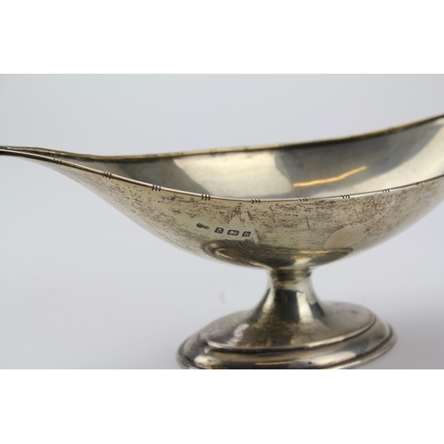 8 - An Oval Silver Pedestal nut dish on a base. Weight 263.4gms & Hallmarked.