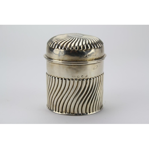 28 - A Victorian Silver semi swirl pattern trinket box and cover. Total weight 5.10oz....