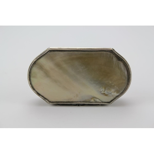 17 - A Georgian design Silver and mother of pearl box with a lift up top. Total Weight 3.47oz.