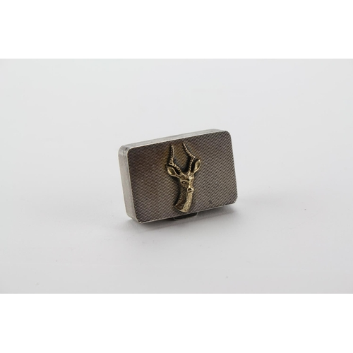 42 - A Silver box decorated with a stags head, C.&.C. 1967....