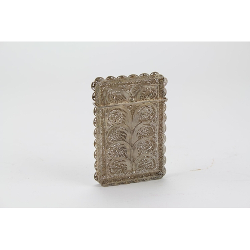 25 - An Antique Silver Filigree card case possibly English.