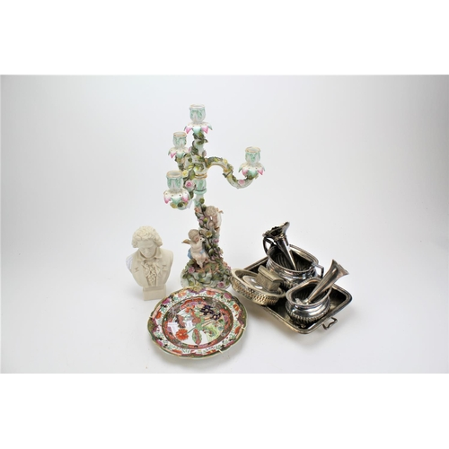 117 - A Chinese designed plate, a bust of Beethoven, and German candelabra....