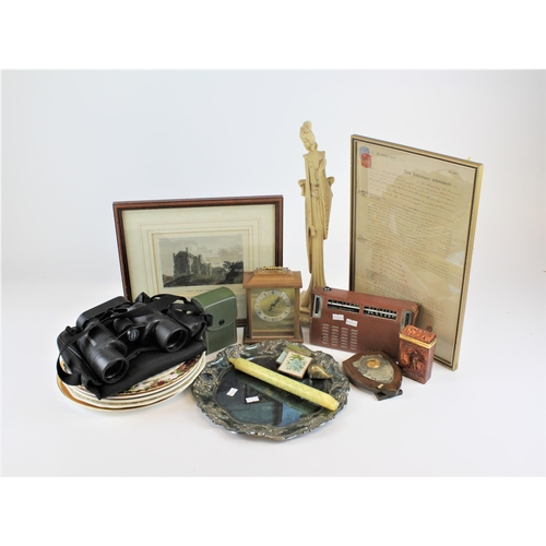 133 - Various items including Bushnell Binoculars, collectors plates, plated tray etc....