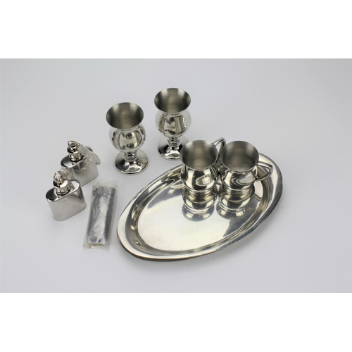 141 - Two spirit flasks, plated tray, goblets, key ring, folding knife etc....