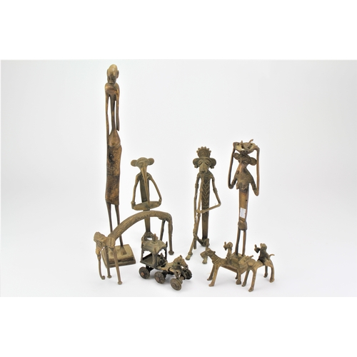 120 - A collection of African brass Benin figures, gods idols etc....