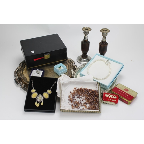 126 - A collection of plated salvers, candle sticks, jewellery box, tins, costume jewellery etc....