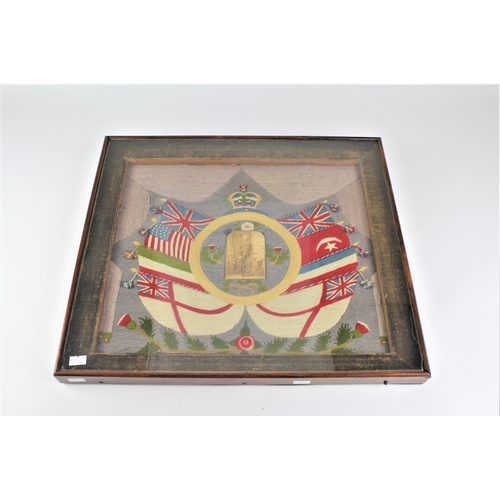 407 - A Victorian wool work sampler, decorated with the flags of England, and Scotland, with a photograph ...