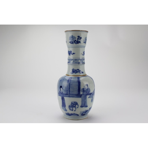 326 - A Chinese Blue and White Lotus flower vase  decorated with a scene of a Chinese Lady's.  Standing at...