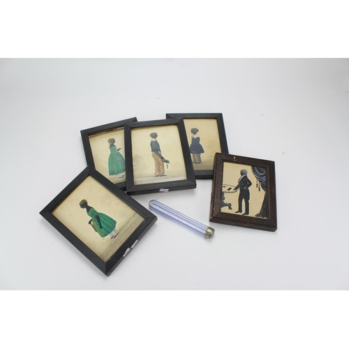 105 - A collection of Victorian period watercolours silhouettes of the brown family in frames....