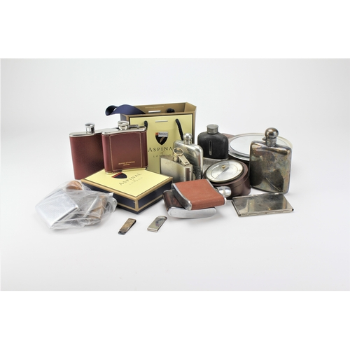 23 - Silver plated hip flasks, wooden box etc....