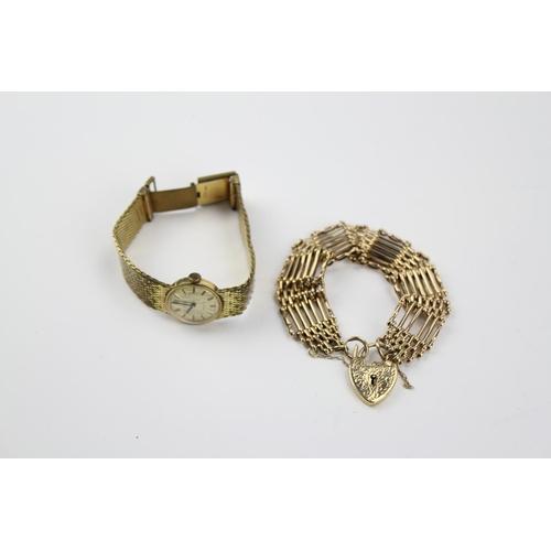 35 - A 9 carat gold 7 bar gate bracelet, 25.5 grams along with a plated wrist watch....
