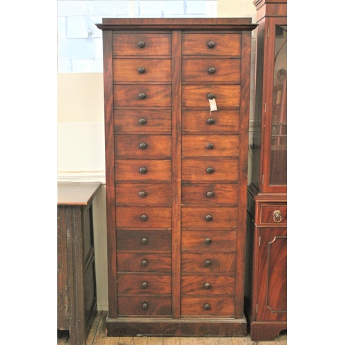 257 - A late Victorian Mahogany veneered straight front, Wellington, double chest of drawers, with lock in...