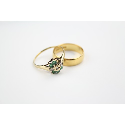 33 - A 22ct Gold Ring 4.4 grams & a 9ct Gold Emerald & Diamond Dress Ring 1.2 grams....