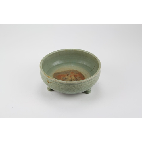 352 - An Antique Chinese Celadon incense bowl, decorated with a diaper work pattern of leaves, on a twin b...