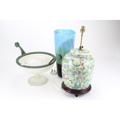 149 - Two handled metal mounted pedestal glass bowl, a studio glass vase in blue and a Chinese table lamp....