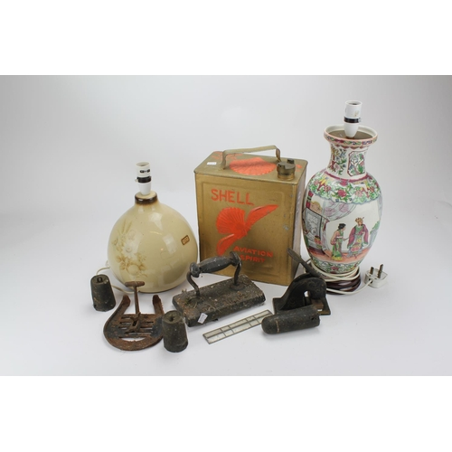 140 - A Glazed Pottery table lamp, a Shell jerry can a modern Chinese lamp, etc....
