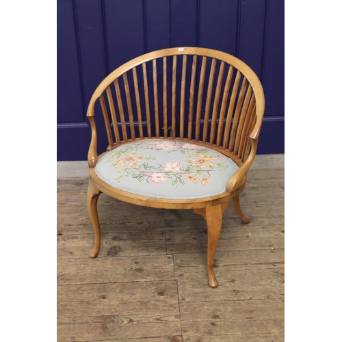 146 - A late Victorian splat back harpist chair, with slender front legs....