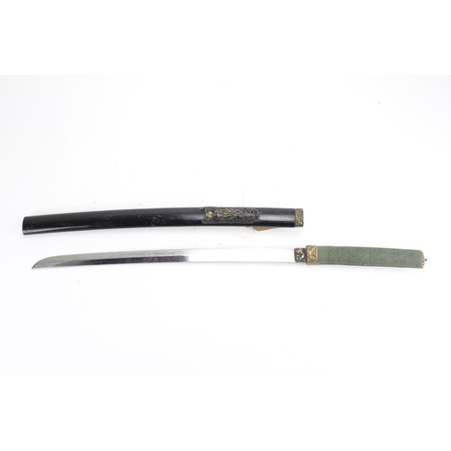 342 - A Chinese short Sword in lacquered case gilt blade Shagreen handle, etc....