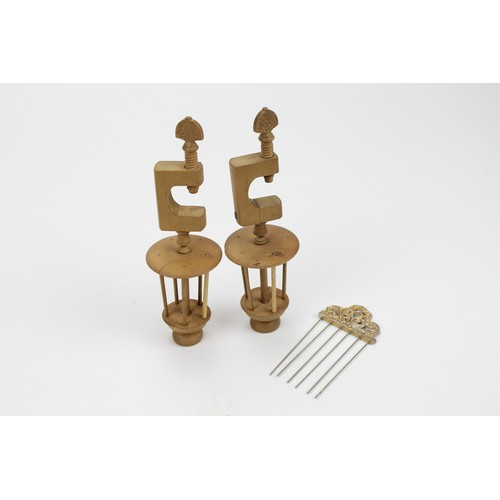 151 - A pair of Antique beech turned wood/wool/thread winders with a clamp....