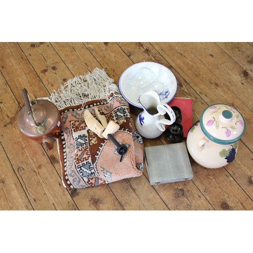 130 - A copper kettle, storm lights, jug and basin, small rug  etc,...