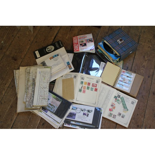 429 - The Atlas stamp album including Denmark, Belgium, India, along with maps and records etc....