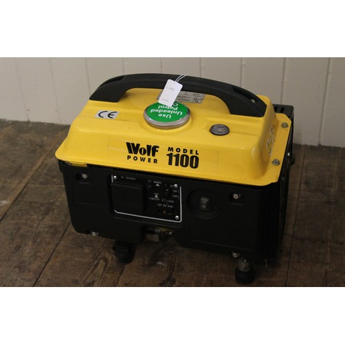128 - WOLF Power 1100 Petrol Generator. Not Tested....