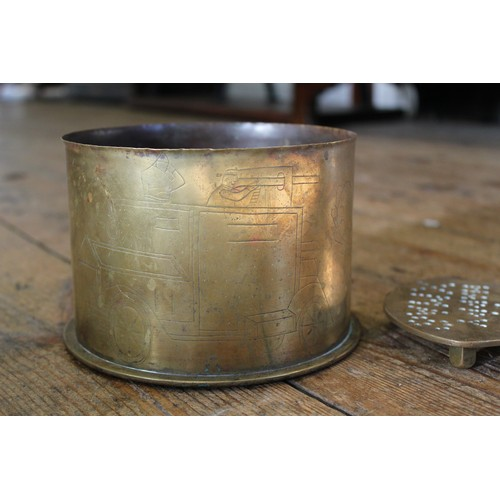104 - A First world war Trench art shell case, decorated with a Belgian armoured car and regimental arms a...