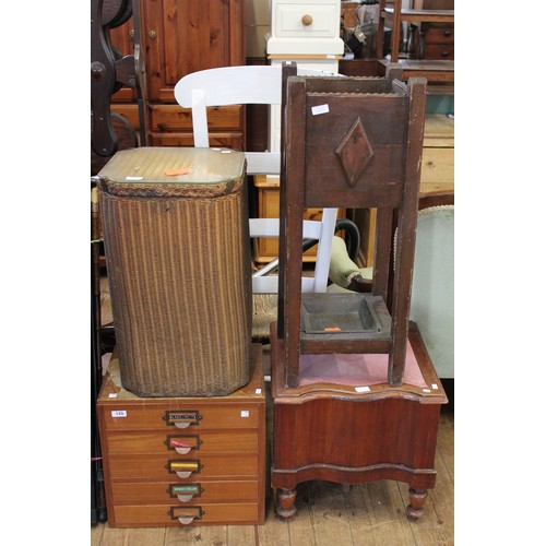 145 - A Late 19th Century Oak Umbrella stand, a commode, woven fibre basket and a filing cabinet....