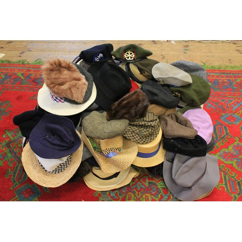 143 - A Large Collection of various Hats including Straw, Regimental, etc. 100 +...