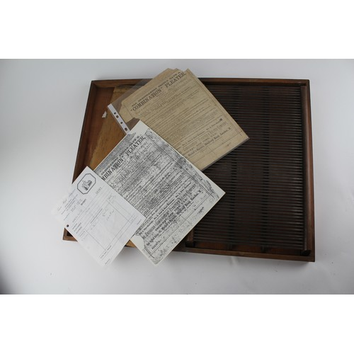 111 - A 1920's wood case skirt pleater with paperwork....