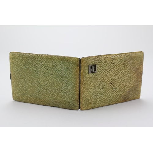 3 - A 1920/30's Silver import Cigarette case, hallmarked, covered in Shagreen....