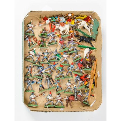 723 - A Large Collection of Britains Plastic Swoppets appear Complete with Swords, Helmets, etc, + Medieva...