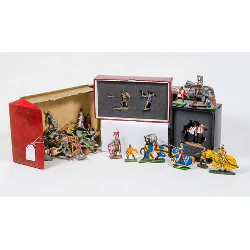 721 - A Collection of Britains Metal Cavalry Knights + Two metal Knight Figures in Boxes with a collection...